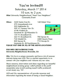 Meet Your Neighbors March 1, 2014 Host Locations
